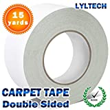 Double Sided Carpet Tape for Small Rugs 15 Yards X 1.5',Rug Gripper,Hardwood Floors Carpets, Outdoor Rug,Multi-Purpose Rugs.Fibre Mesh`s Strong Sticky Tape. Anti Slip,Fix Easy & Remove Without Stain.