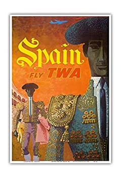 Spain - Fly TWA  Trans World Airlines  - Matadors - Vintage Airline Travel Poster by David Klein c.1960 - Master Art Print 13in x 19in