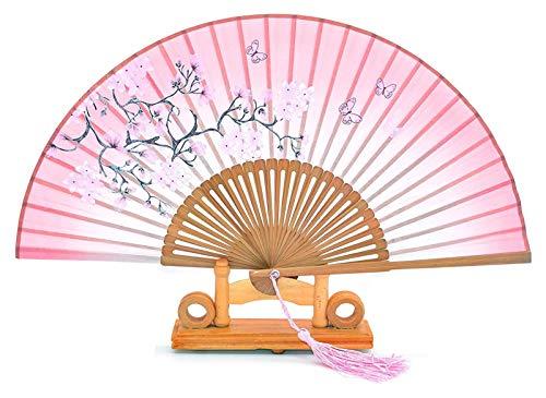 Mqmh Ventilador de Mano de Estilo Chino, Ventilador Plegable de Seda y bambú, Volando de Mariposa, Ventilador de Seda de Borla, Regalo de Estilo Chino, Regalo de Boda (Color : Pink, Size : One Size)