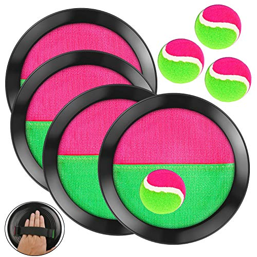 OOTSR 8 pcs Paddle Catch Ball Set Wurf- und Catch Ball-Spielset 4 Klettverschluss verstellbares Selbstklebepaddel 4 Bälle für Outdoor-Aktivitäten