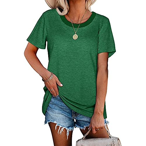 Manga Corta Mujer Blusa Elegante Cómodo Verano Cuello Redondo Color Sólido Mujer Tops Diseño Suelto Único Diario Casual Transpirable All-Match Mujer T-Shirts G-Green S