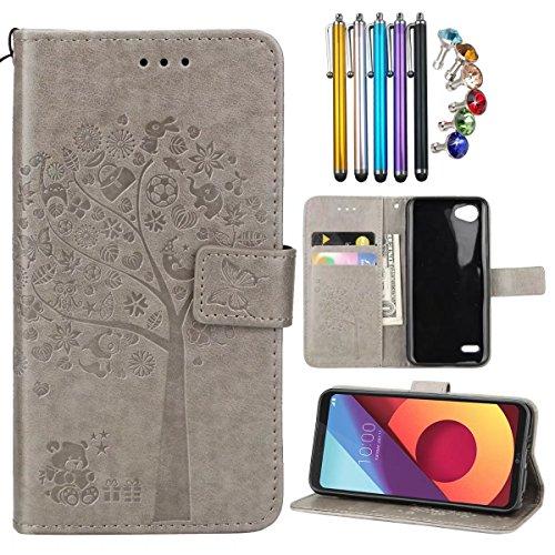 LEMORRY LG Q6 / M700N / M700A Hülle Tasche Ledertasche Beutel Schutz Magnetisch mit Kartenschlitz Weich TPU Silikon Flip Cover Schale Handyhülle für LG Q6, Glücksbär Baum (Grau)