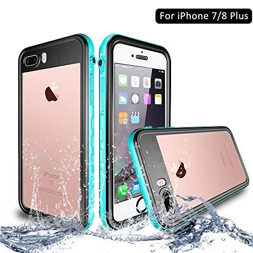 NewTsie Funda iPhone 7 Plus, Funda iPhone 8 Plus, Anti-rasguños Impermeable Carcasa Funda Case con Protector de Pantalla Submarino Caso para iPhone 7/8 Plus 5.5 Inch (T-Azul)