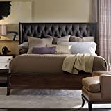 Hooker Furniture Palisade Fabric Tufted King Shelter Bed in Walnut and Carbon