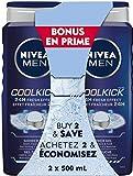 NIVEA MEN Gel douche Cool Kick (2 x 500 ml) pour le corps et les mains, savon liquide avec effet rafraîchissant 24 h