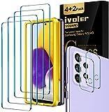 ivoler 4 Unidades Protector de Pantalla para Samsung Galaxy A72 4G+ 2 Unidades Protector de Lente de Cámara,Cristal Templado con Marco de alineación, Antihuellas, 9H Dureza Vidrio Templado,0.33 mm