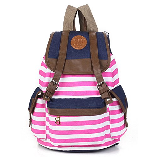 Rbenxia Unisex Canvas Backpack School Bag Super Cute Stripe School College Laptop Bag for Teens Girls Boys Students Pink