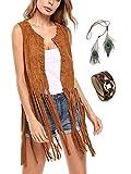 Chaleco de mujer con borla sin mangas vintage 70s cárdigan con flecos Hippie Outfit de piel ante sintético Moda Street-Wear marrón L