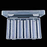 100PCS 25MM Round Coin Case Storage Box Plastic Coin Collection Holder Acrylic Coin Display Case Organizer Container for Collectors