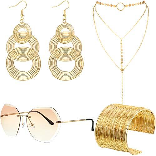 70s Disco Set Rimless Diamond Cutting Sunglasses Wire Metal Coil Bracelets Layered Choker Necklace Gold Triple Swirl Disco Earrings