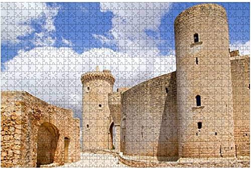 1000 piezas-Castillo Castillo de Bellver en Mallorca en Palma de Mallorca Rompecabezas de madera DIY Niños Rompecabezas educativos Regalo de descompresión para adultos Juegos creativos Juguetes Rompe