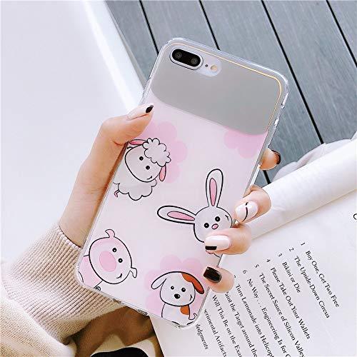 SUNHAO iPhone 6 7 8 Plus XSR MAX Handyfall Schminkspiegel Tier Illustration weiche Schale TUC Material Silikon Schutzhülse ultradünne Schutzabdeckung Paar Handyschale