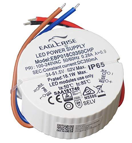 HuaTec Eaglerise Transformador LED 350mA 1,4W 3W 12W 18W Impermeable IP65 Corriente Constante para Lampara LED Alimentador Fuente de Alimentación LED (18W)