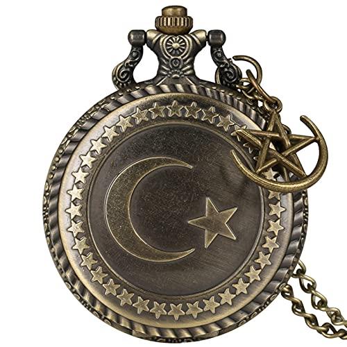 Reloj de Bolsillo clásico Vintage diseño de Bronce Luna Estrellas Redondo Cuarzo Antiguo Antiguo Bolsillo Reloj Punk Collar Colgante para Hombres Mujeres con Accesorios Reloj de Bolsillo Vintage para