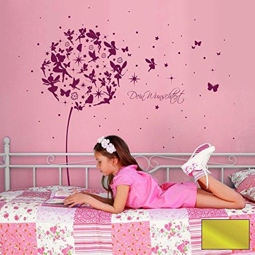 ilka parey wandtattoo-welt® Wandtattoo Wandaufkleber Pusteblume Elfen Feen Schmetterlinge Wunschtext M2056 - ausgewählte Farbe: *Gold* ausgewählte Größe: *S - 110cm breit x 105cm hoch*