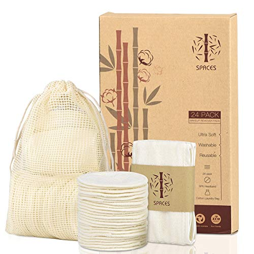 Reusable Makeup Remover Pads,24 Packs Organic Bamboo Cotton Rounds with Spa Headband & Cotton Laundry Bag, Eco-friendly Natural Premium Upgrade Set