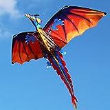 SSYY - Cometa de dragón 3D con cola, para niños, para volar al aire libre con 100 m de línea de cometa