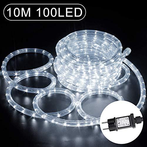 10m LED Lichtschlauch, 100 LEDs Lichterschlauch Verlängerungs Lichtschläuche IP65 Wasserfest Lichterkette 8 Leuchtmodi & Helligkeit dimmbar, Strombetrieben für Innen/Ausse Weihnachtsbeleuchtung Deko