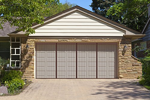 Liveinu Upgraded Magnetic Garage Door Screen 2 Car Screen Door for Single or Double Garage with Hook & Loop Install Magnetic Closure Anti Bug Insect Pest Screen Door 18 Ft x 8 Ft (W x H) Brown