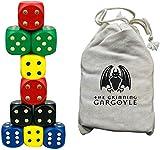 Juego de dados de madera grande con bordes redondeados - 10 piezas multicolores con bolsa de dados - Gárgola sonriente WCN-9001 - Ideal para juegos educativos de matemáticas, juegos de rol, D&D