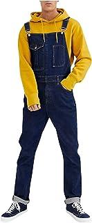 WXZZ Tuinbroek voor heren, lang, slim fit, stretch, denim, slabbetjes, overalls, meerdere zakken, verstelbare riem, werkbr...