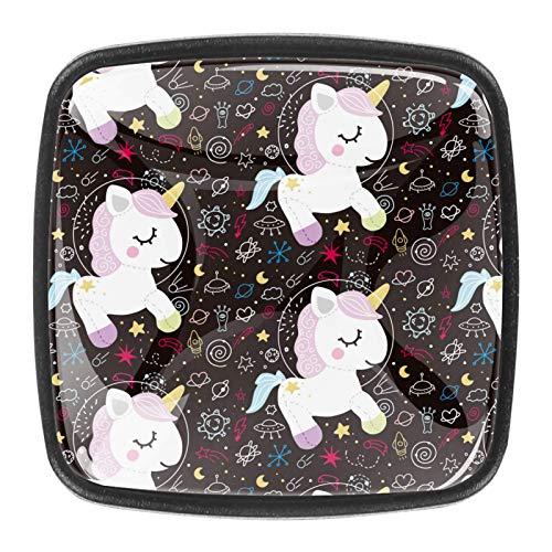 Pomos cuadrados para gabinetes de coche, gabinetes de cocina o palancas de cajón (paquete de 4) lindo espacio de dibujos animados bebé unicornio