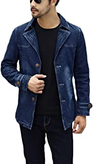 QitunC Men's Trench Coat Long Slim Fit Overcoat Jacket Military Blazer Casual Outerwear
