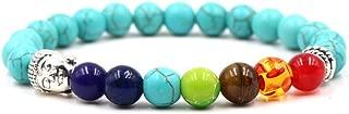 MHOOOA Beads Colorful Chakras Energy Lava Volcano Stone Buddhism Head For Men Women Bracelet