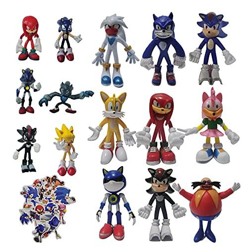 Figura Sonic Un conjunto nueve figuras grandes + un conjunto seis figuras pequeñas Sonic the Hedgehog Sonic Supersonic Kid Supersonic Mouse Muñeca montada tarjeta Figura Modelo decoración juguete