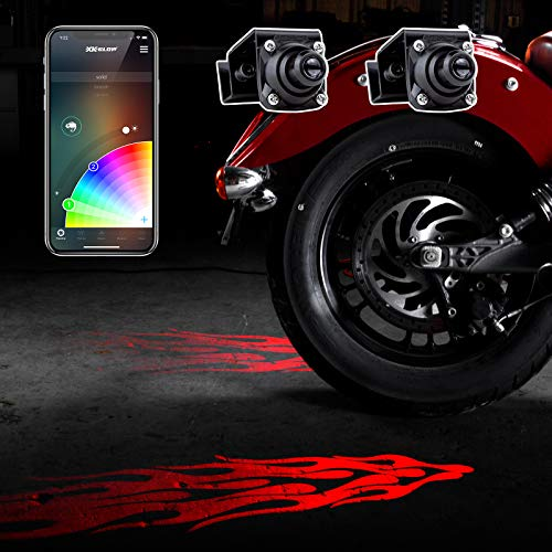 CurbFX 2pc Bluetooth XKchrome App Control Waterproof LED Projector Welcome Light Flame Style