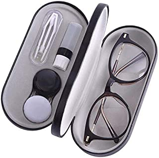 Muf 2 in 1 Double Sided Portable Contact Lens Case and Glasses Case,Dual Use Design with Built-in Mirror, Tweezer and Contact Lens Solution Bottle Included for Travel Kit