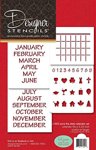 Ahorrar la fecha calendario Cookie Stencil Set C1023 by Designer plantillas