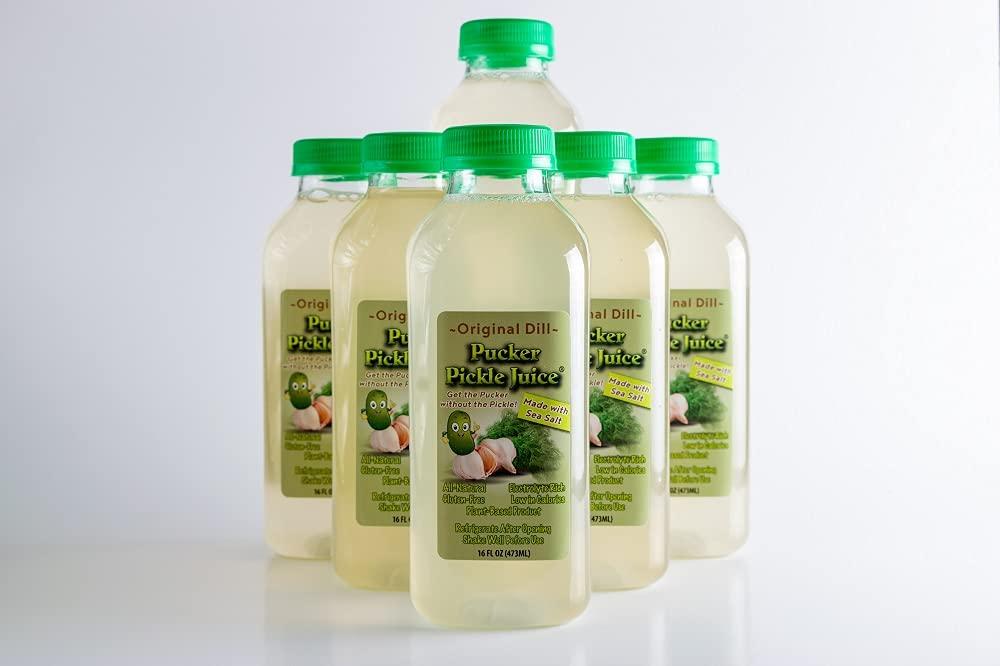 Pucker Pickle Juice® Original Dill Flavor of 16 oz. Spasm price NEW before selling ☆ 6 Pack Bo