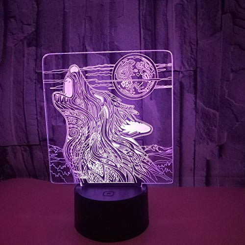 Luces de ilusión 3D, 7 colores, 3D, LED, luz nocturna USB, control táctil, para el hogar, la mesa, para niños, regalo de Navidad para niños