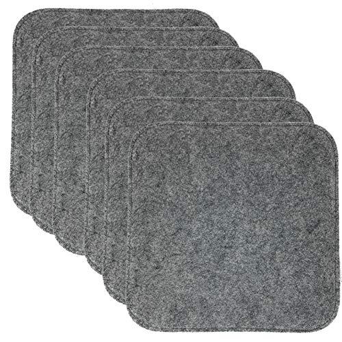 JEMIDI 6X Stuhlkissen Filzimitat Eckig 35cm x 35cm Sitzkissen Filz Stuhlkissen Sitzauflage Sitzpolster Grau Eckig 6 Stück