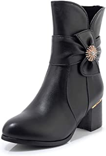 BalaMasa Womens ABS14138 High-Top Round-Toe Novelty Black Leather Boots - 4.5 UK (Lable:38)