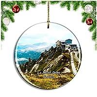 フランス Le Mont-Doreクリスマスデコレーションオーナメントクリスマスツリーペンダントデコレーションシティトラベルお土産コレクション磁器2.85インチ