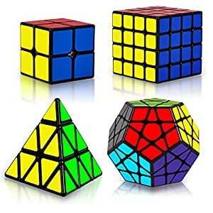 Speed Cube Set, Puzzle Cube, Magic Cube 2x2 3x3 4x4 Pyraminx Pyramid Megaminx Puzzle Cube Toy for Children Adults, Pack of 5 by Coolzon