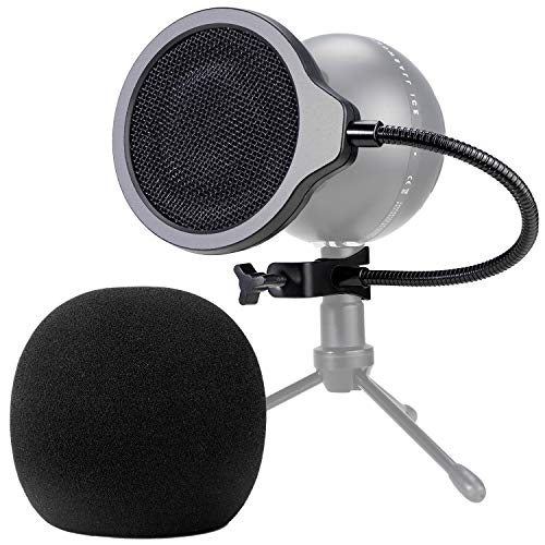 Snowball Mic Pop Filter - 4 Inch 3 Layers Windscreen with Flexible 360° Gooseneck Clip for Blue Snowball Microphone to Improve Sound Quality by YOUSHARES