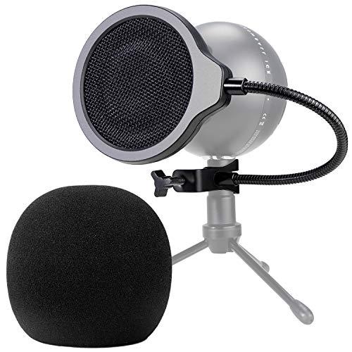 Filtro Anti-pop Snowball Mic con Parabrezza in Schiuma - 4 Pollici 3 Strati Pop Filter e Foam Windscreen per Blue Snowball Microfono per Migliorare la Qualità del Suono di YOUSHARES