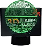 NHSUNRAY Lámpara 3D de estrella de la muerte ilusión 3D, luz nocturna de 7 colores, lámpara táctil de arte de escultura, luces de regalo de cumpleaños para decoración de dormitorio de niños