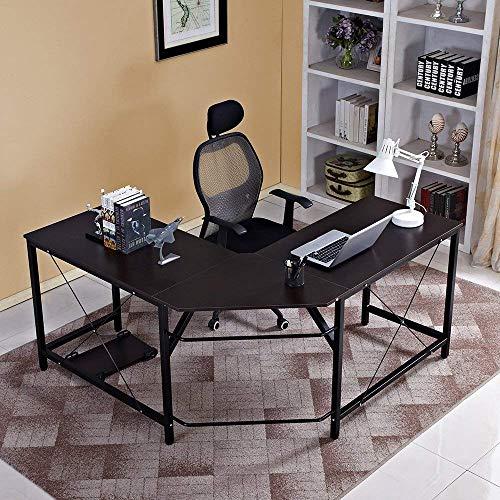 Aprodz Duane 59 x 59 inches Large L-Shaped Desk Computer Desk L Desk Office Desk Workstation Desk, Black