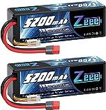 Zeee 3S LiPo Batería 11.1 V 60C 5200 mAh Estuche rígido Batería con Enchufe Deans T para Coche RC, Avión RC, Helicóptero RC, Hobby RC (2 Paquetes)