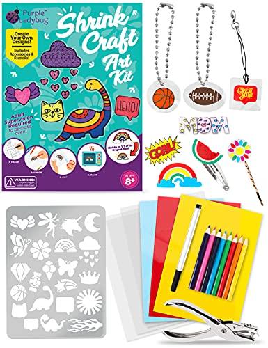 PURPLE LADYBUG 53 Fogli Colorati di Plastica Termoretraibile per Bambini – Shrink Plastic di 4 Colori e Tutto Il Necessario per Creare con la Shrink Art – Idea Regalo per Bambini e Bambine