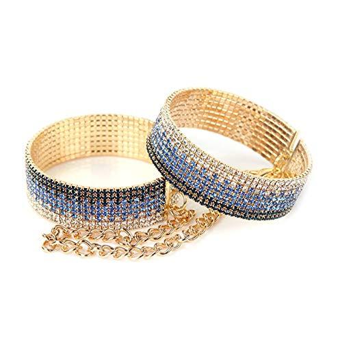 Pulsera de diamantes de imitación brillante Esposas Brazalete ajustable para mujeres adolescentes...