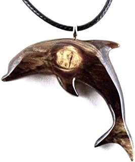 Wooden Dolphin Pendant Necklace Nautical Jewelry Hand Carved in Ormosia Exotic Wood