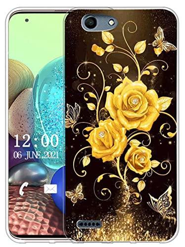 Sunrive Kompatibel mit Vodafone Smart E8 Hülle Silikon, Transparent Handyhülle Schutzhülle Etui Hülle (X Schmetterling und Rose 1)+Gratis Universal Eingabestift MEHRWEG
