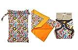 Petit Lulu Paquete de Cambio de Pañal de Tela | Bolsa de Pañales Impermeable + Cambiador + Cubierta Talla Única | Botones de Presión | Reutilizable y Lavable (King of the Jungle)