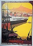 Poster Marseille, Reproduktion, Format 50 x 70 cm, Papier,