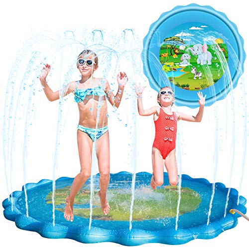 "VOROSY Upgraded 79"" Sprinkle & Splash Play Mat, Splash Pad, Inflatable Summer Outdoor Party Sprinkler Pad Water Toys Fun for Children, Infants, Toddlers, Boys, Girls and Kids"